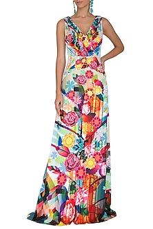 Fuchsia Digital Printed Gown by Manish Arora