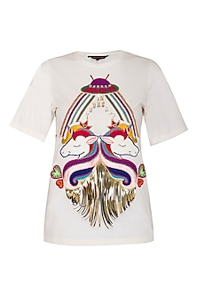 White Half Sleeves T-Shirt by Manish Arora
