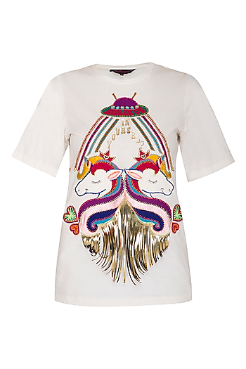 White Half Sleeves T-Shirt by Manish Arora