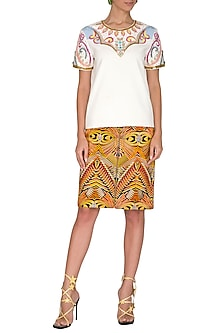 White Half Sleeves Top by Manish Arora