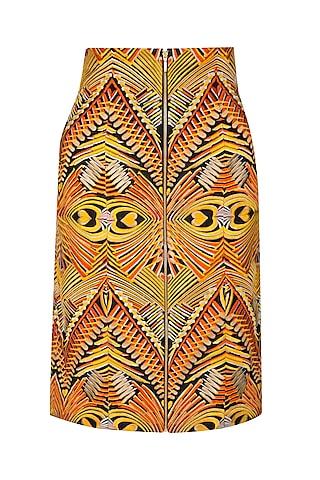 Orange High Waisted Pencil Skirt by Manish Arora