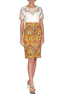 Orange High Waisted Pencil Skirt by Manish Arora