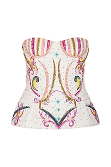 White Corset Top by Manish Arora
