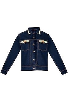 Navy Blue Denim Jacket by Manish Arora