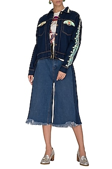 Navy Blue Denim Jacket by Manish Arora