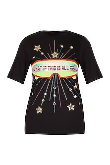 Black Half Sleeves T-Shirt by Manish Arora