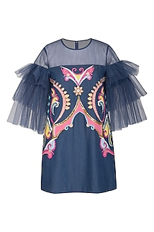 Cobalt Blue Denim Mini Dress by Manish Arora