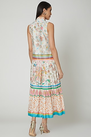 Multi Colored Embroidered & Printed Dress by Manish Arora