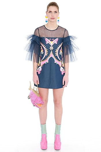 Blue Embroidered Frill Sleeved Dress by Manish Arora