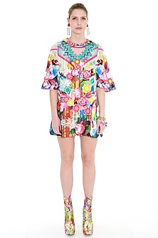 Multi Colored Printed Flared Sleeves Dress by Manish Arora