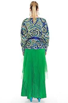 Blue Khichdi Embroidered Woven Top by Manish Arora