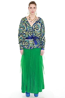 Green Satin Lycra Woven Skirt by Manish Arora