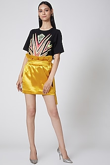Yellow Mini Skirt With Tie-Up by Manish Arora