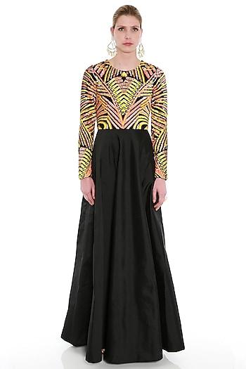 Black Embroidered Maxi Dress by Manish Arora