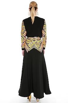 Black Embroidered Maxi Skirt by Manish Arora
