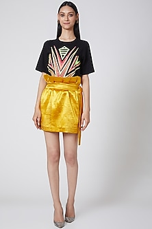 Black Embroidered Top by Manish Arora