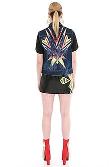 Black Embroidered Mini Skirt With Bow Tie by Manish Arora