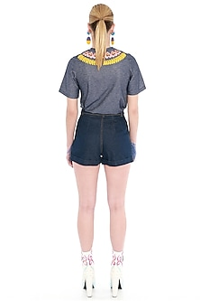 Blue Embroidered Shorts by Manish Arora