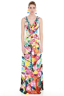Multi Colored Printed Maxi Dress by Manish Arora