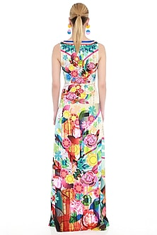 Multi Colored Printed Maxi Dress by Manish Arora