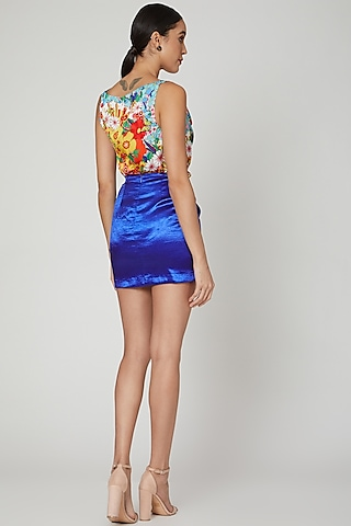 Cobalt Blue Knotted Skirt by Manish Arora