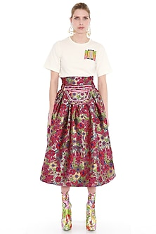 Multi Colored Printed Flared Skirt by Manish Arora