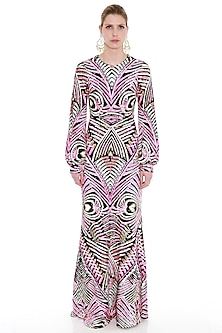 Pink Embroidered Net Maxi Dress by Manish Arora