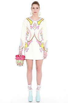 Ivory Hand Embroidered Crepe Dress by Manish Arora
