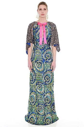 Blue Khichdi Embroidered Cape Gown by Manish Arora