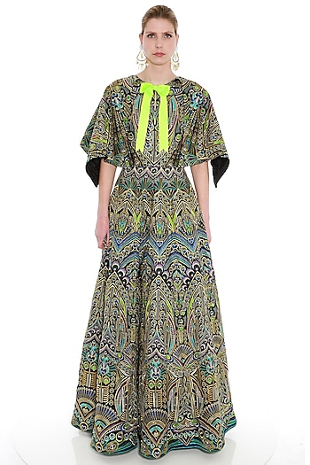 Black Embroidered Woven Cape Gown by Manish Arora