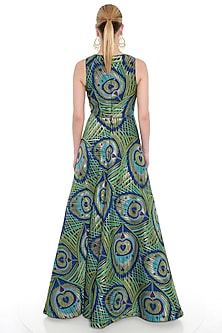 Green Printed Woven Brocade Gown by Manish Arora