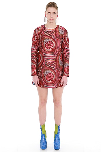 Red Woven Brocade Dress by Manish Arora