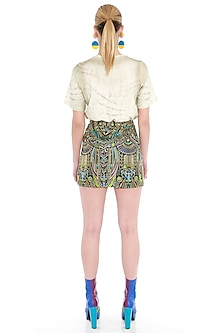 Black Embroidered Woven Mini Skirt by Manish Arora