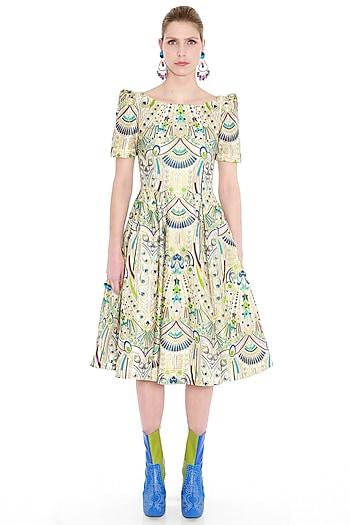 Multi Colored Embroidered Organza Dress by Manish Arora