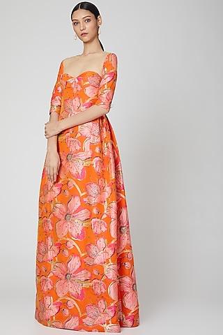Orange Floral Printed Gown by Manish Arora