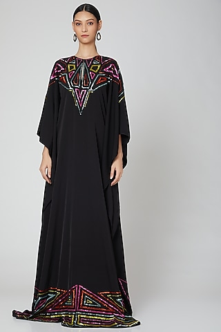 Black Zardosi Embroidered Kaftan by Manish Arora