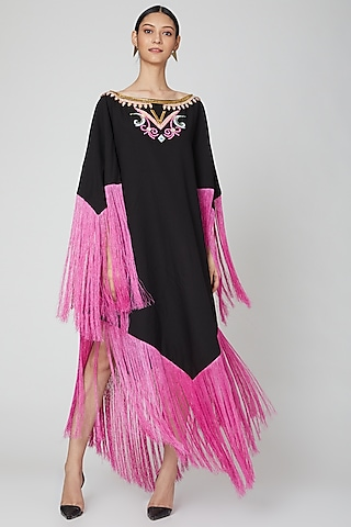 Black Knee Lenght Dress With Fringes by Manish Arora