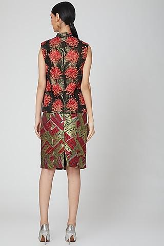 Red Brocade Knee Length Skirt by Manish Arora