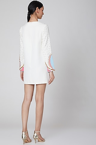 White Appliques Embroidered Dress by Manish Arora