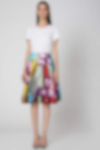 Multi Colored Floral Skirt  by Manish Arora