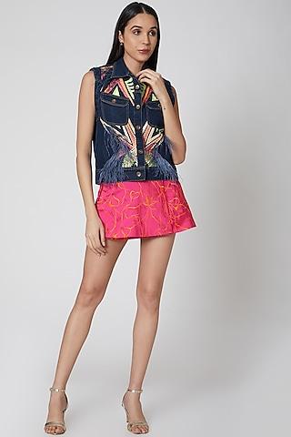 Fuchsia Embroidered Skirt by Manish Arora