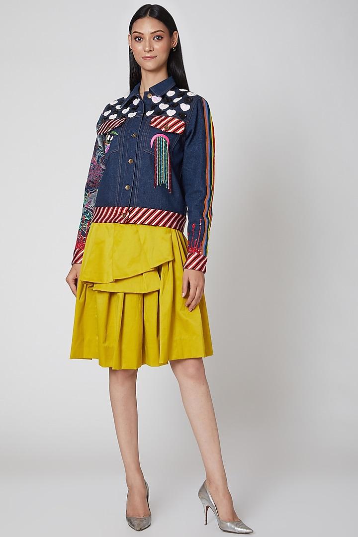 Yellow Draped Skirt by Manish Arora