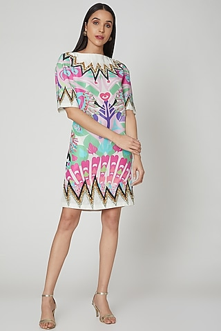 Multi Colored Printed & Embroidered Dress by Manish Arora