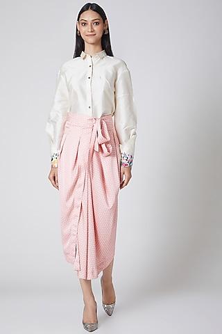 Blush Pink Printed Wrap Skirt by Manish Arora
