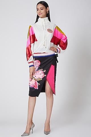 Black Embroidered Skirt by Manish Arora