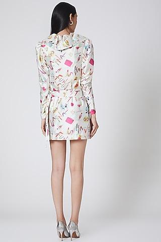 White Printed Skirt by Manish Arora