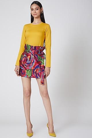 Multi Colored Printed Skirt by Manish Arora