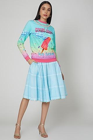Powder Blue Embroidered Skirt by Manish Arora