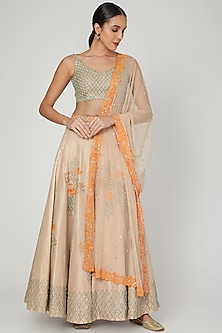 Beige & Mint Green Embroidered Lehenga Set by Izzumi Mehta