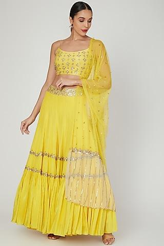 Yellow Embroidered Lehenga Set by Izzumi Mehta